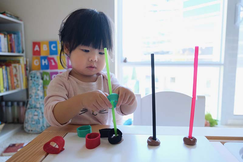 Straw & Felt Loop Fine Motor Color Sorting Activity
